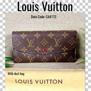 Louis Vuitton wallet portefeiulle emily long red